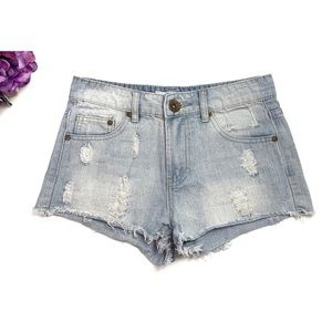 COTTON ON Lt Wash Distressed Cut Off Jean Shorts 4